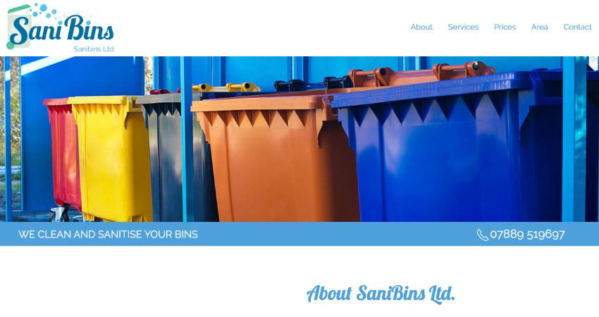 Sanibins Wheelie bin cleaning service website